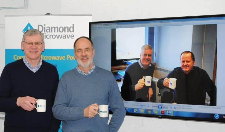Celebrating the partnership with a virtual meeting are (left to right): Howard Belk, Engineering Director, Diamond Microwave Limited; Richard Lang, CEO, Diamond Microwave Limited; Dave Brown, Group CEO, TMD Technologies Ltd; Nigel Hann, Sales Director, TMD Technologies Ltd